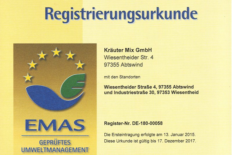 Registrierungsurkunde